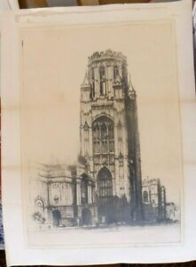 E-W-SHARLAND-Old-Original-Etching-Signed