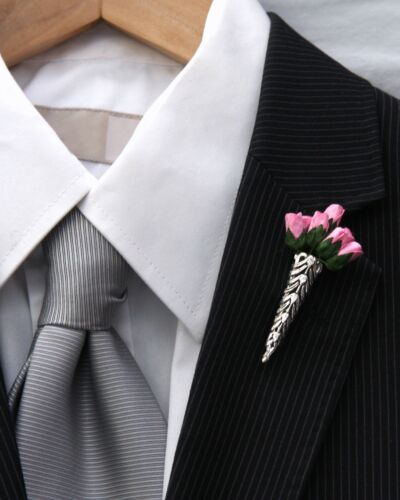 Silver Plated Small Wedding//Prom Buttonhole Flower Vase*Corsage*Boutonniere