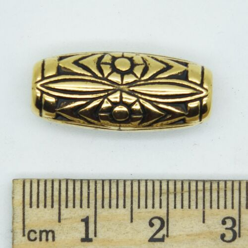 Floral Tube Bead Decorative 25mm one inch Antiqued Gold pk//6