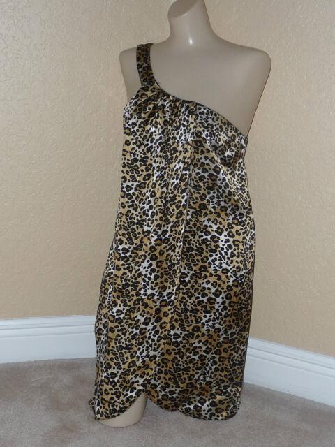 NWT LACEY PARKER Sz M Silk Leopard print One shoulder Tarzan Jane Ret.$285 Toga