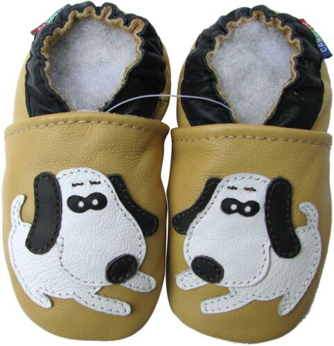 carozoo dog beige 12-18m soft sole leather baby shoes