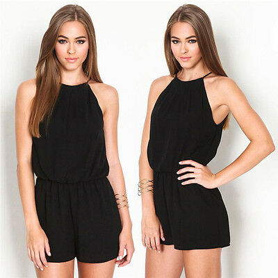 Women Bodycon Backless Summer Casual Chiffon Sleeveless Short Jumpsuit Pants