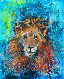 """Contemporary Cat Series """"lion"""" Bright Original Painting By G.liedtke"""