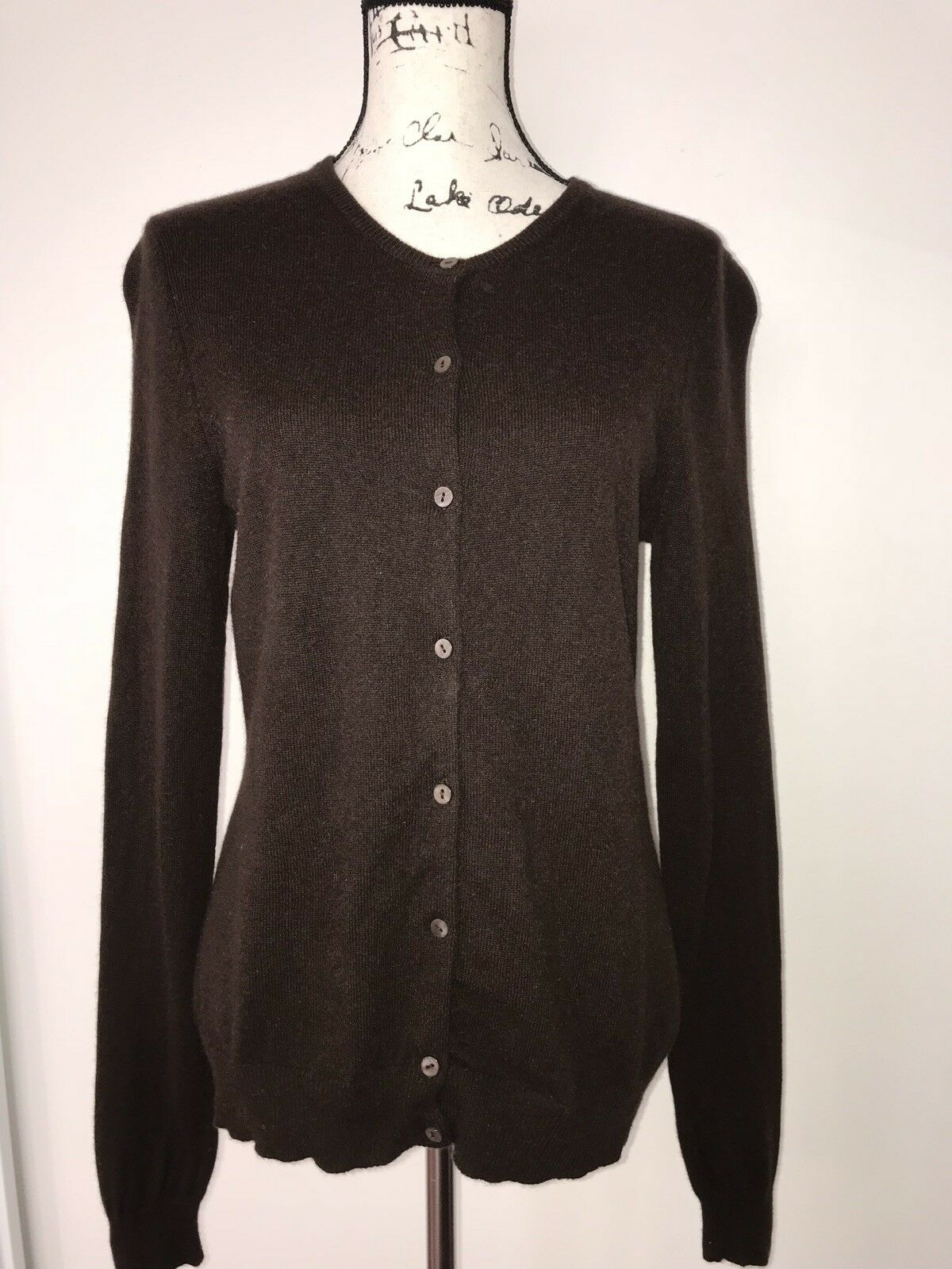 Bloomingdale's Sutton Studio 100% Cashmere Brown Sweater Button Down Cardigan L