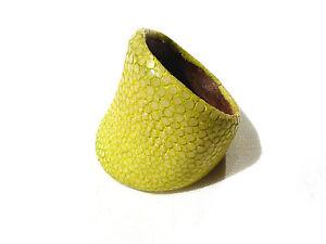 Bijou-cuir-Galuchat-rare-authentique-bague-jonc-taille-65-No-10-ring