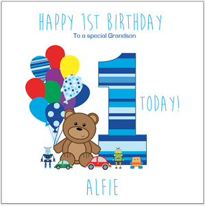 Personalised 1st Birthday Card Teddy Bear Any Age Name Son Grandson