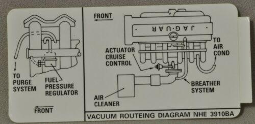 NEW Jaguar 1995 Vacuum Routing Diagram Sticker 4.0  X300  NHE-3910BA Genuine