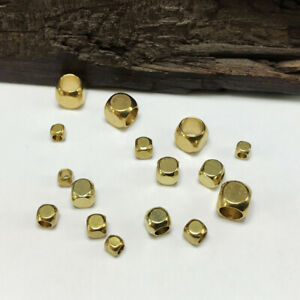 Solid-Brass-Small-Cube-Metal-Gold-Loose-Spacer-Beads-lot-2mm-3mm-4mm-5mm-6mm