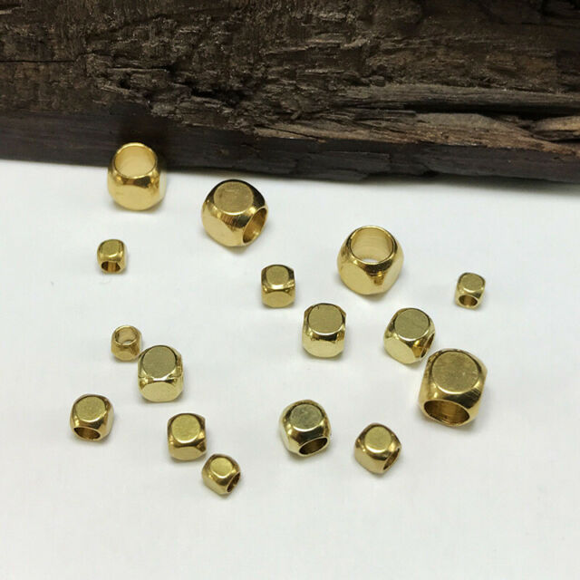 Solid Brass Small Cube Metal Gold Loose Spacer Beads lot 2mm 3mm 4mm 5mm 6mm