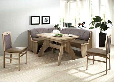 Details zu Eckbankgruppe 4tlg Tischgruppe Essecke Eckbank Tisch Stuhl Sonoma Eiche Monza II