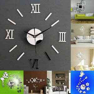 Image Is Loading 3D DIY Wall Clock Home Modern Decoration Crystal