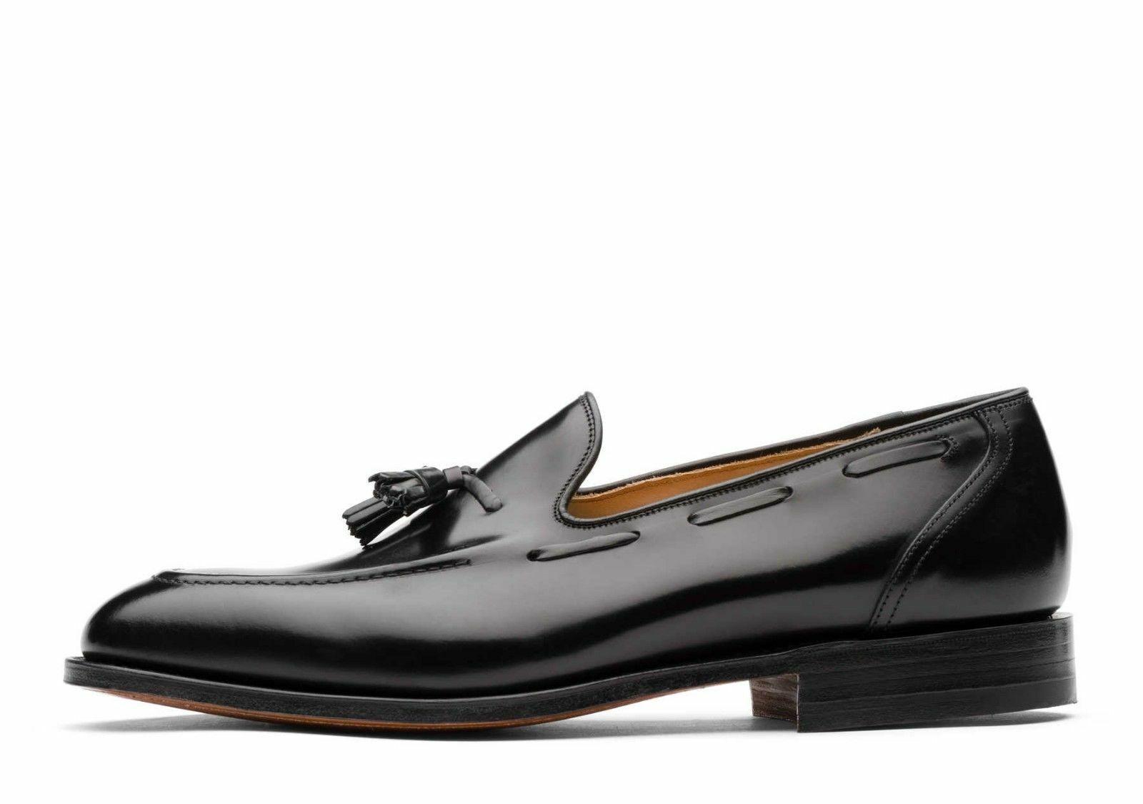 Para Hombres Cuero Zapatos Mocasines Con Borlas Hecho a Mano Negro Clásico Mocasín Slip On