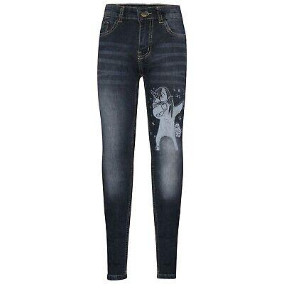 Kids Girls Jeans Designer Unicorn Dab Black Denim Stretchy Pants Trouser 5-14 Yr