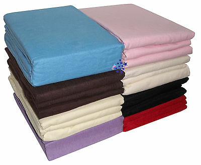 Thermal Flannelette 100% Brushed Cotton Duvet Fitted Flat Bed Sheets PillowCase