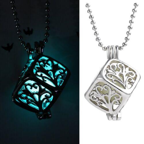 Necklace Steampunk Pretty Magic Glow In The Dark Luminous Cube Retro Women