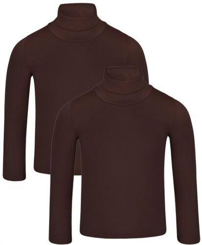 Kids Plain Basic Long Sleeve Slim Fit Turtleneck Shirt Bundle pack of 2