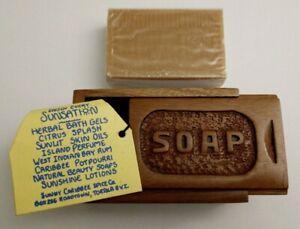 Vintage-Sunny-Caribbee-Spice-Soap-Bar-amp-Wooden-Box
