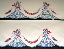Pair SOUTHERN BELLE Hand Embroidered Pillowcases 1950 Victorian Girls Blue Dress
