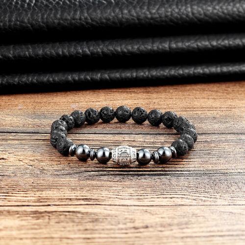 Semipreciosa piedra pulseras piedra pómez Onxy howlita perlas pulsera elástica handmadela 3