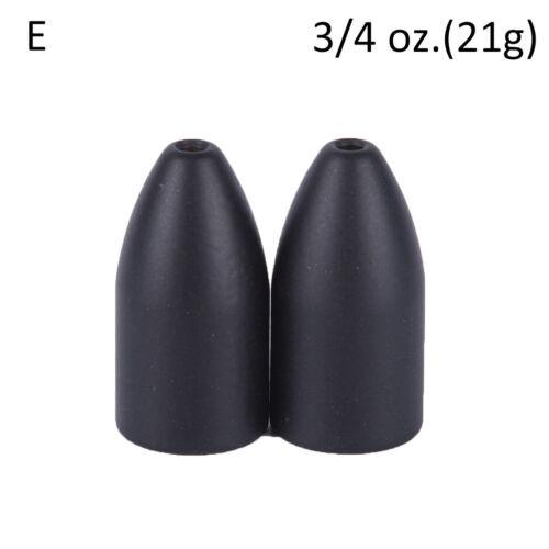 2x Black Tungsten Bullet Flipping Weight Fishing Sinker Lure Fishing AccessorGWU