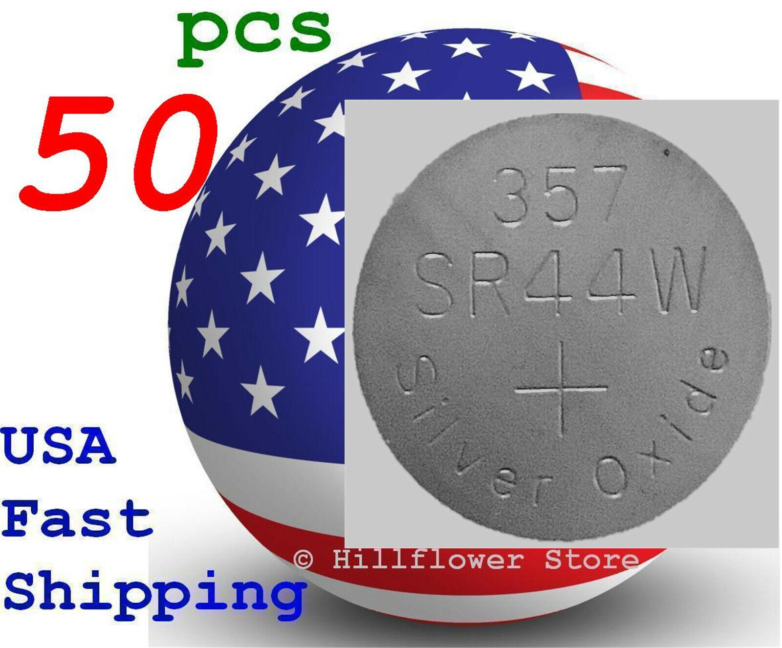50 pcs SR44 SR44SW 303 357 G13 357A SR44W Bulk Silver Oxide Battery