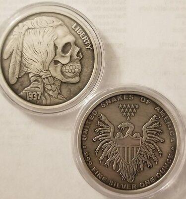 1 oz .999 Silver proof antiqued Hobo Nickel Indian Skull United Snakes buffalo