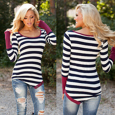 Fashion Women Ladies Casual Long Sleeve Crewneck Loose Blouse Sexy Tops T Shirt