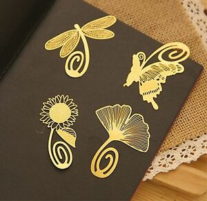 4PCS Simple Golden Vintage Style Page Mark Bookmark Paper Clip Card Gift Reading