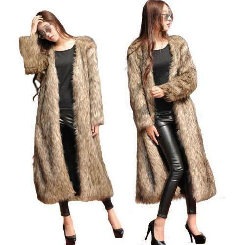 Occident Women's Luxury Coat Winter Warm Mid Long Parka Size Faux Fur Overcoat L