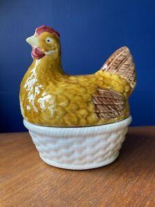 Vintage/ Retro Kitsch Ceramic Chicken Egg Holder Storage Colouful Portugal