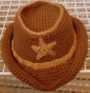 Handmade Crochet Baby Infant Western Style Cowboy Hat Brown Tan Ebay