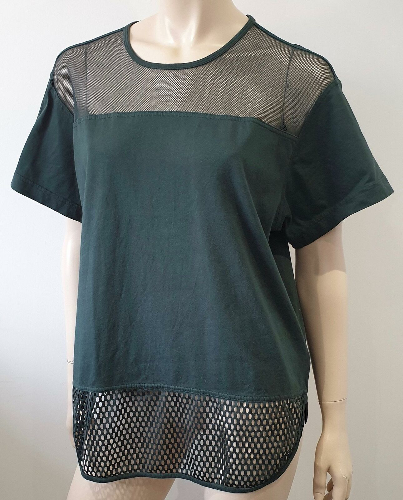 STELLA MCCARTNEY ADIDAS verde Cotton & Maglia Manica Corta T-Shirt Tee Top M