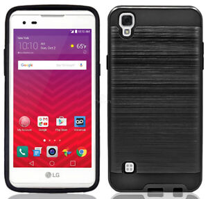 sports shoes 5727a 59534 Details about For LG Tribute HD / LG X Style Brushed Hybrid Shockproof  Armor Hard Cover Case