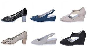 LADY-SOFT-sandali-zeppe-donna-in-pelle-camoscio-tessuto-Beige-Nero-Blu-Grigio