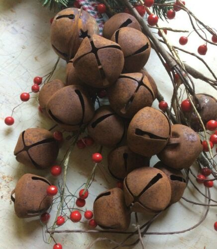 """12~Primitive Rusty Bell Tin JINGLE BELLS 30mm 1/"""" 1 in Christmas Crafts Farmhouse"""