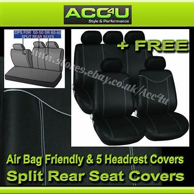 Black Grey Stitching Airbag Friendly Car 50-50 60-40 Split Rear Seat Covers Set