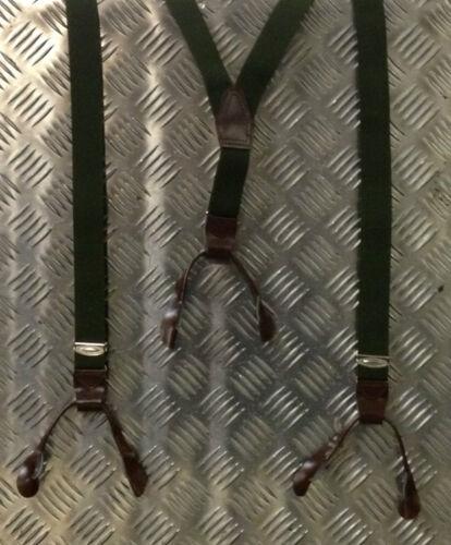 Verstellbar Echt Tschechische Armee Grün Hosenträger mit Leder Schnallen