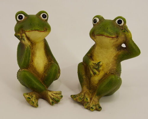 2er Set Frosch Tier Keramik Garten Haus Terrasse Dekofigur Dekobote