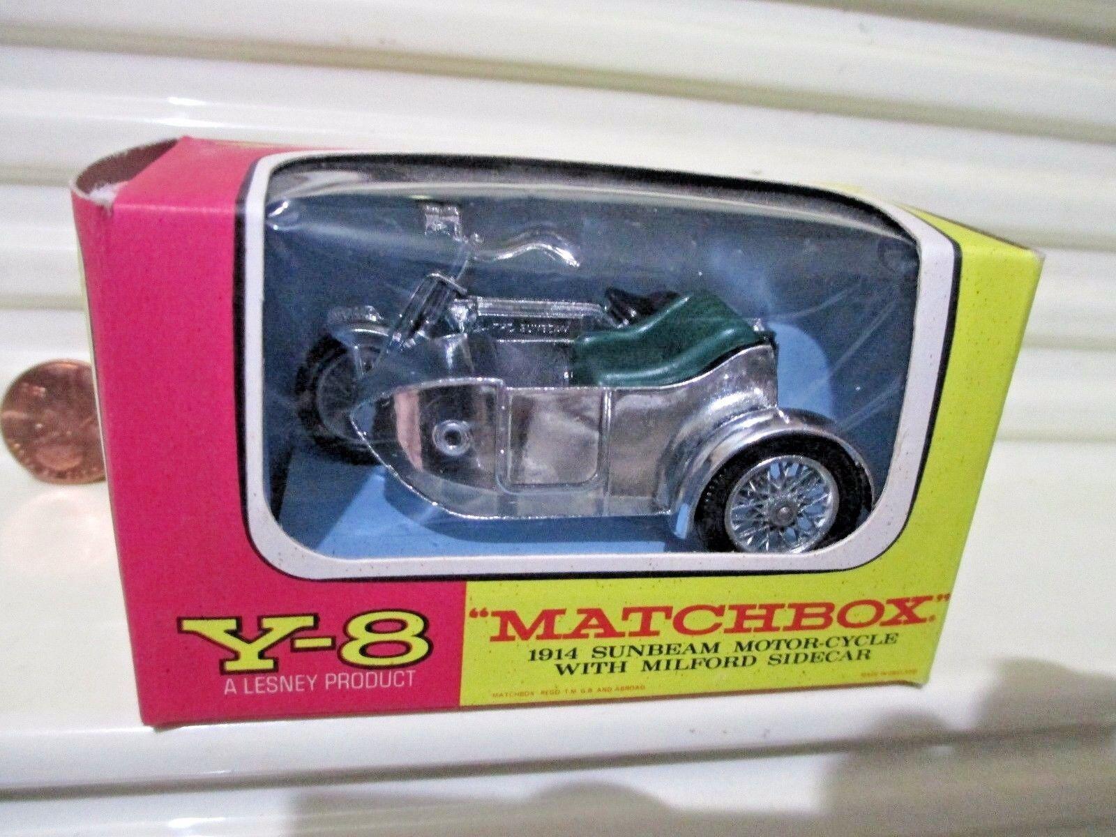 Lesney Matchbox Yesteryear 1962 Y8B 1914 1914 1914 SUNBEAM MOTORCYCLE w MILFORD SIDECAR Nu 1d5280