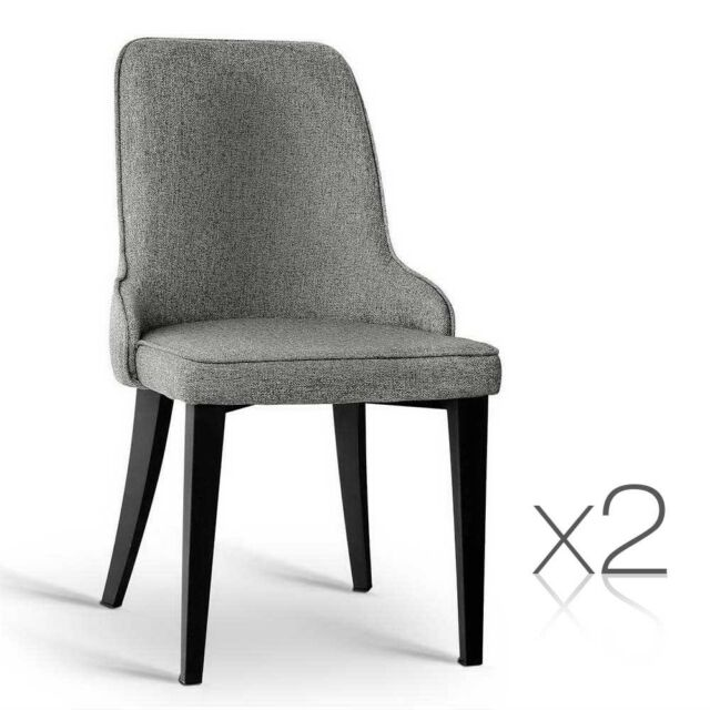 Set of 2 Fabric Dining Chairs Grey Padded Seat Steel Legs Cafe Kitchen Chair