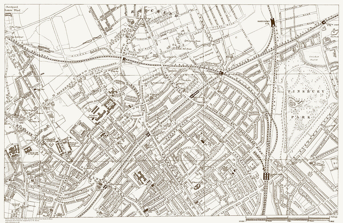 Crouch End Highgate Hill Finsbury Old Map London 1888 D2 For Sale