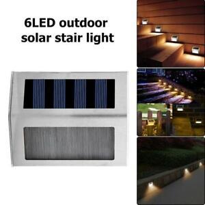 4X-6LED-Luce-Solare-Lampada-con-Sensore-di-Movimento-Esterno-Proiettori-Faretto