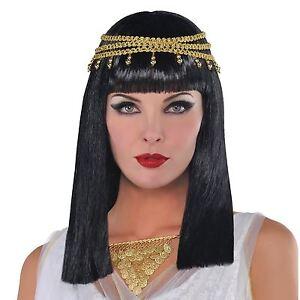 egyptian goddess cleopatra ladies wig black hair jewel gold