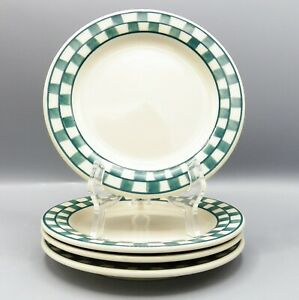 4-Hartstone-Green-Checks-Salad-Plate-Checkmates-Checkerboard-Checked-Farmhouse