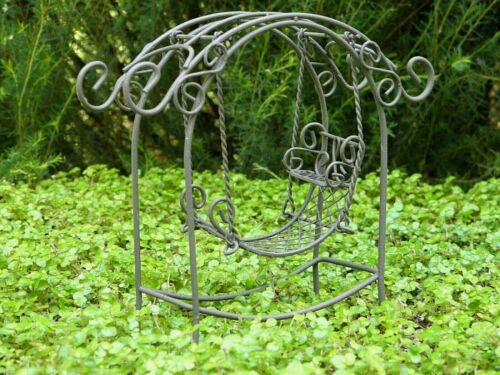 Miniature Dollhouse FAIRY GARDEN Furniture ~ Rustic Iron Arch with Swing ~ NEW