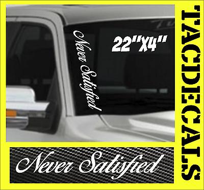 LIMITLESS Vertical Windshield VINYL DECAL Sticker Never Satisfied Truck Car JDM