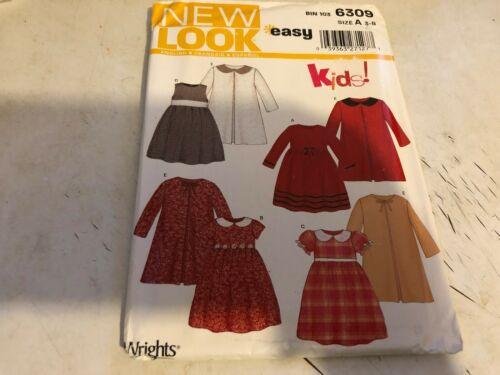 New Look Pattern 6309 Girls EZ Empire Waist Dresses w//Matching Coats Sz 3-8