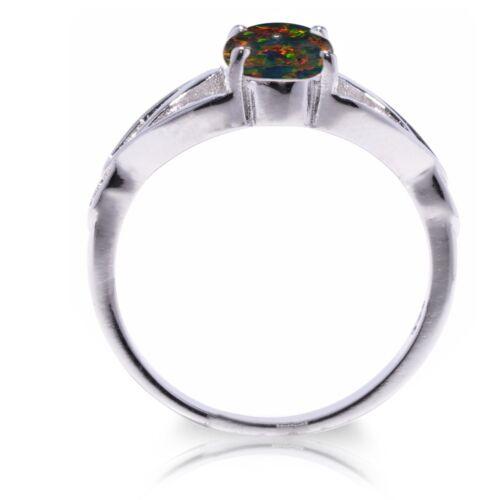 Australian Black Fire Opal Infinity Celtic Oval Birthstone Sterling Silver Ring
