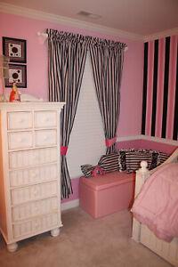 New Kathy Ireland Home Madison Girl Pink Black Stripes Window Curtain Panel Set