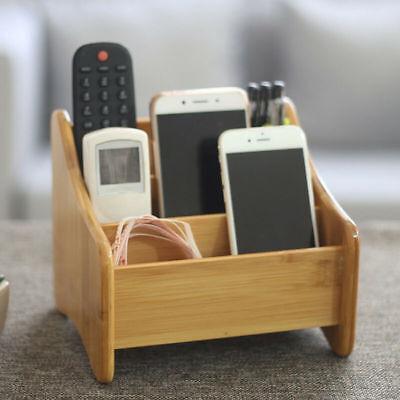 GroßZüGig Bambus Fernbedienungshalter Ständer Aufbewahrungsbox Schreibtisch Organizer